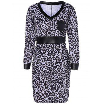 Leopard Print Faux Leather Insert Pencil Dress
