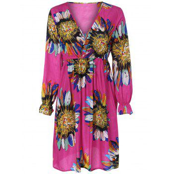 Ruffled Sunflower Print Surplice Dress