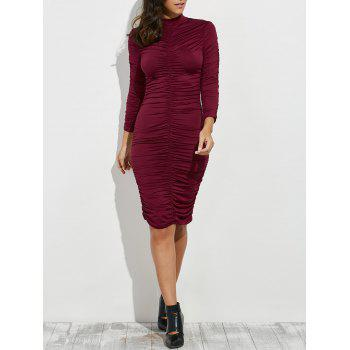 Ruched Bodycon Knee Length Dress