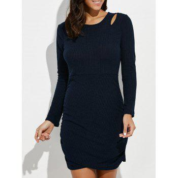 Cut Out Mini Ruched Knitted Dress