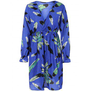 Printed Puff Sleeves Ruffled Surplice Dress