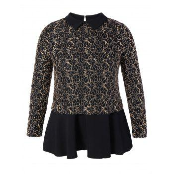 Plus Size Floral Pattern Peplum Blouse