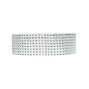 Layered Plastic Beading Choker Necklace - SILVER