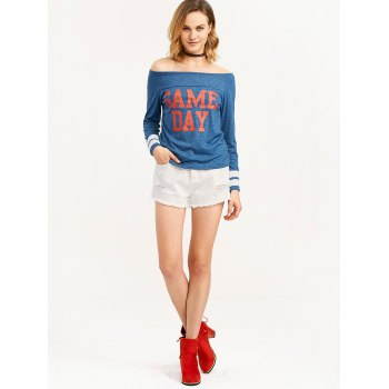 Game Day Print Off The Shoulder T-Shirt - BLUE S