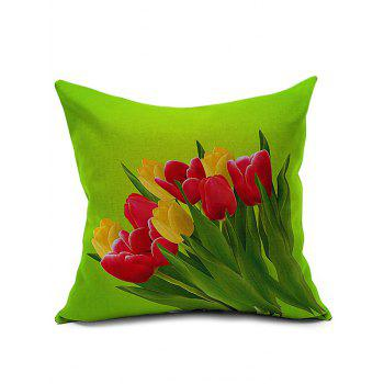 Linen Tulip Printed Cushion Cover Pillowcase