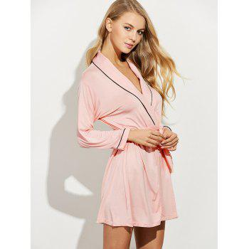 Belted Long Sleeves Wrap Sleepwear - SHALLOW PINK M