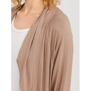Raglan Sleeve Pocket Draped Coat - KHAKI XL