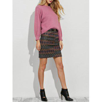 Sweater and Geometric Graphic Skirt Twinset