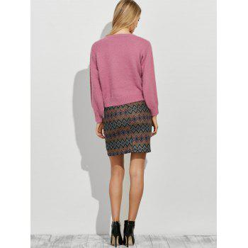 Sweater and Geometric Graphic Skirt Twinset - PINK M