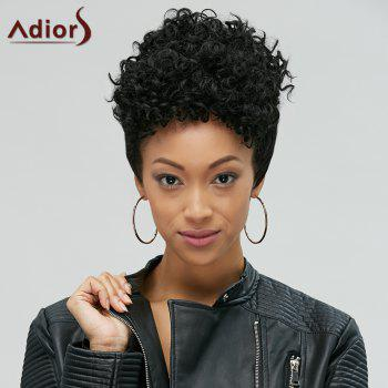 Adiors Pixie Cut Short Fluffy Curly Side Bang Synthetic Wig