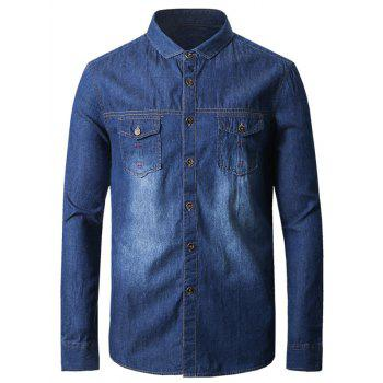 Suture Pocket Turndown Collar Denim Shirt
