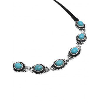 Artificial Turquoise Bows Choker Necklace - BLACK