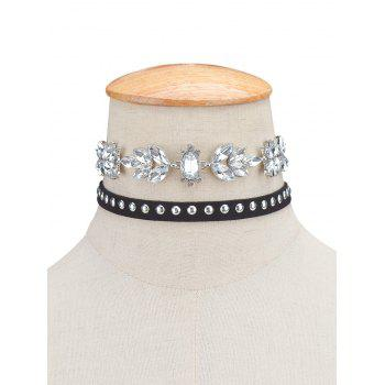 2PCS Fake Crystal Rivets Velvet Chokers