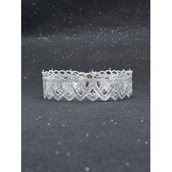 Vintage Lace Geometric Choker Necklace - WHITE