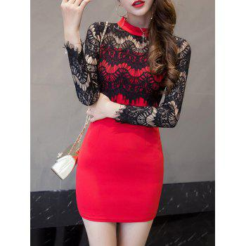 Eyelash Lace Panel Mini Dress