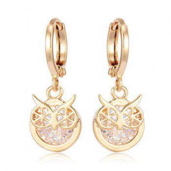 Rhinestone Owl Circle Drop Earrings