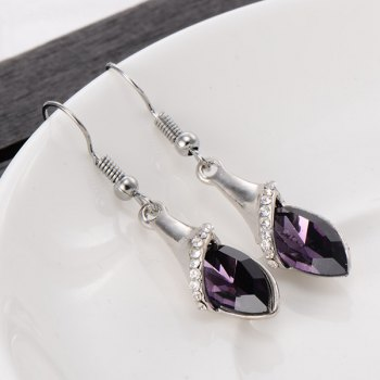 Faux Crystal Dangle Earrings - PURPLE