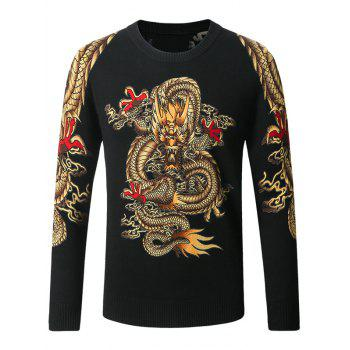 Crew Neck Dragon Pattern Long Sleeve Sweater