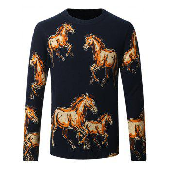 Crew Neck Horses Pattern Thicken Sweater