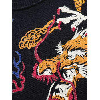 Dragon Pattern Thicken Sweater - CADETBLUE 4XL