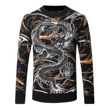 Crew Neck Dragon and Scrawl Pattern Sweater