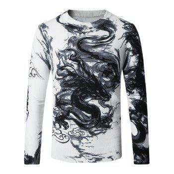 Crew Neck Ink and Wash Dragon Pattern Sweater
