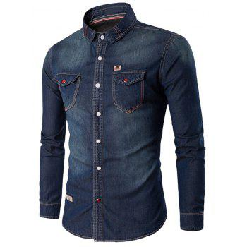 Chic Rhinestone Pocket Denim Shirt - DEEP BLUE M