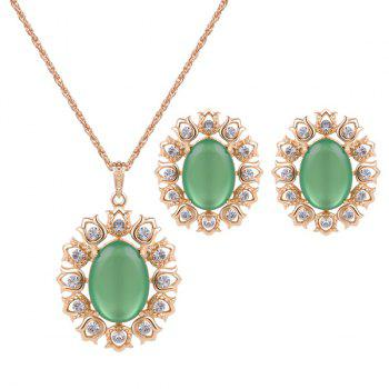 Rhinestone Oval Floral Necklace and Earrings