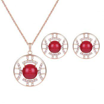 Rhinestone Bead Circle Necklace and Earrings