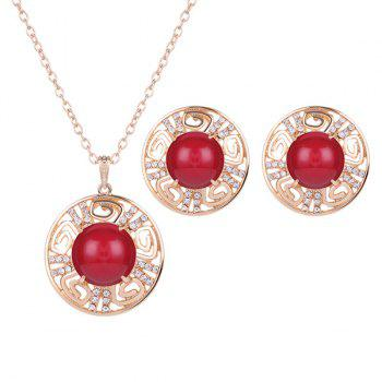 Rhinestone Bead Round Necklace and Earrings