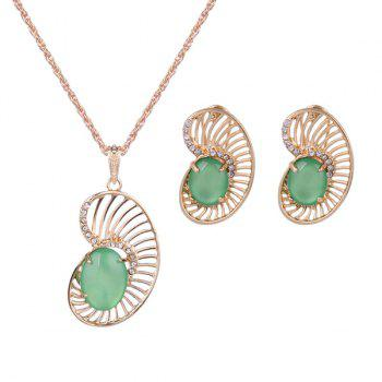 Faux Opal Rhinestone Necklace and Earrings