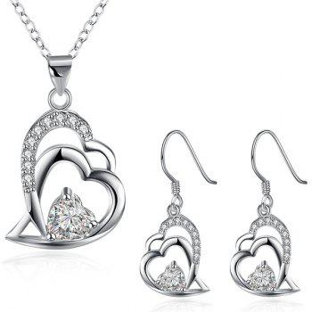 Double Heart Rhinestone Necklace and Earrings
