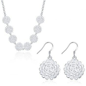 Flower Necklace and Drop Earrings