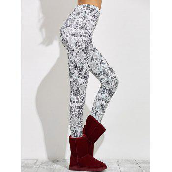 High Waisted Skinny Print Leggings - GRAY GRAY