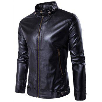 PU Leather Zip Up Metal Buckle Jacket