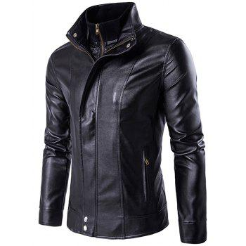 Double Zipper Faux Twinset PU Leather Jacket