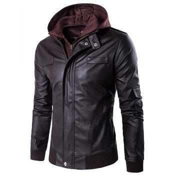 Double Zip Up Faux Twinset PU Leather Jacket