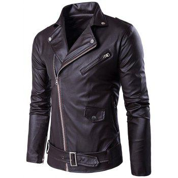 Zip Up Belt Design PU Leather Jacket