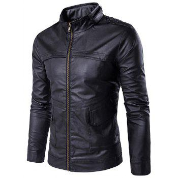 Stand Collar PU Leather Zip Up Pockets Design Jacket