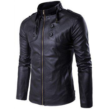Stand Collar PU Leather Zip Up Buttons Design Jacket