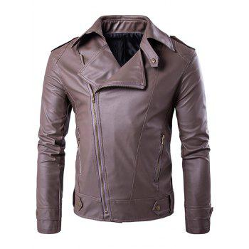 Turndown Collar Epaulet PU Leather Jacket