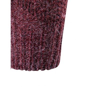 Knit Blends Roll Neck Verical Kink Design Sweater - RED S