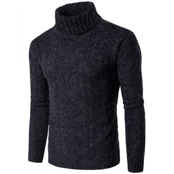 Knit Blends Roll Neck Verical Kink Design Sweater
