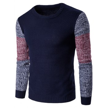 Color Block Spliced Long Sleeve Sweater
