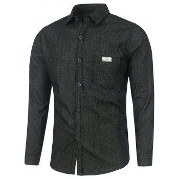 Pocket Long Sleeve Washed Denim Shirt - BLACK XL