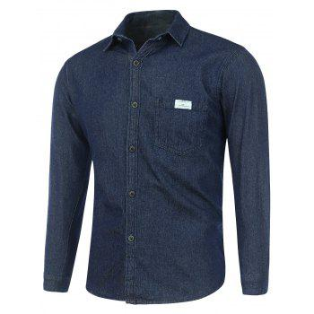 Pocket Long Sleeve Washed Denim Shirt - DEEP BLUE DEEP BLUE