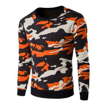 Crew Neck Camo Flocking Sweatshirt