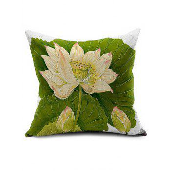 Lotus Printed Car Seat Cushion Linen Pillow Cover