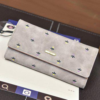 Metal Snap Closure Embroidery Wallet - LIGHT GRAY