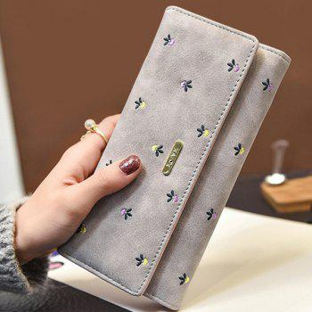 Metal Snap Closure Embroidery Wallet